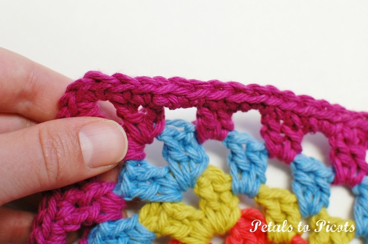 Crochet Fasten Off : Petals to Picots Crochet: Tutorial: The Invisible Join and Fasten Off