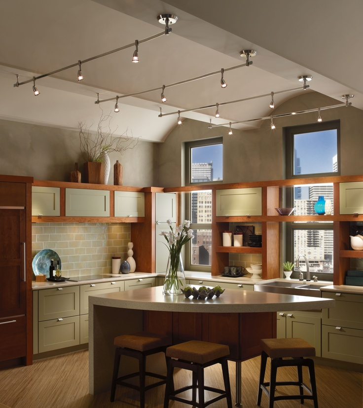 Progress Lighting's Illuma-Flex Track Lighting System. A great way to customize any kitchen with various track heads and mini-pendant fixtures.
