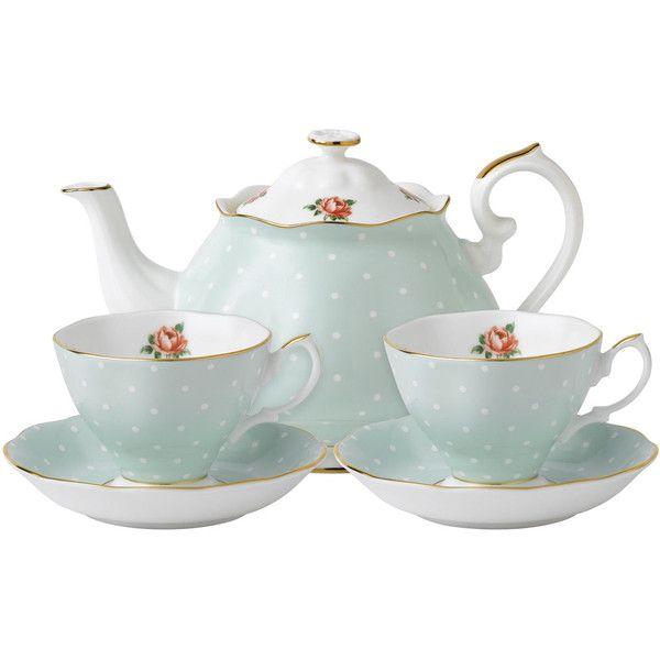 Oh So Adorable Vintage Tea Set : Royal Albert Polka Rose Vintage Tea for Two Set found on Polyvore