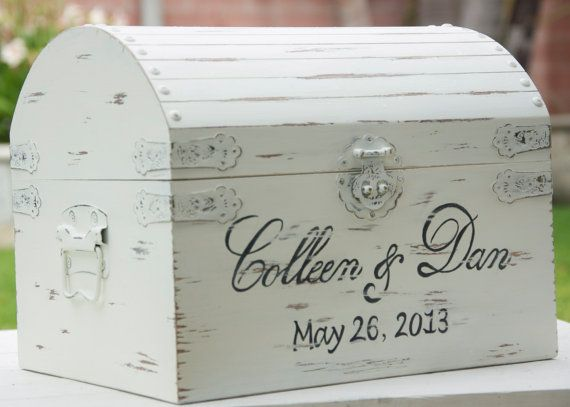 Large Vintage / Shabby Chic Wedding Card Box With Card Slot- Treasure ...
