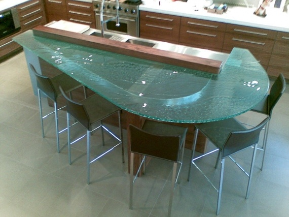 Yes! Glass bar height countertop Kitchen Remodel Pinterest