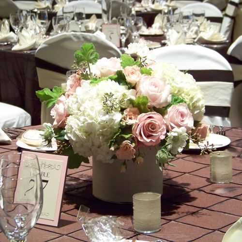 Rose hydrangea centerpiece wedding reception pinterest