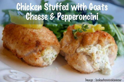 Chicken Stuffed with Goat Cheese and Pepperocini | Recipe Devil