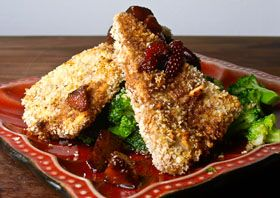 Mustard crusted tofu w/balsamic strawberries. Made this for dinner ...