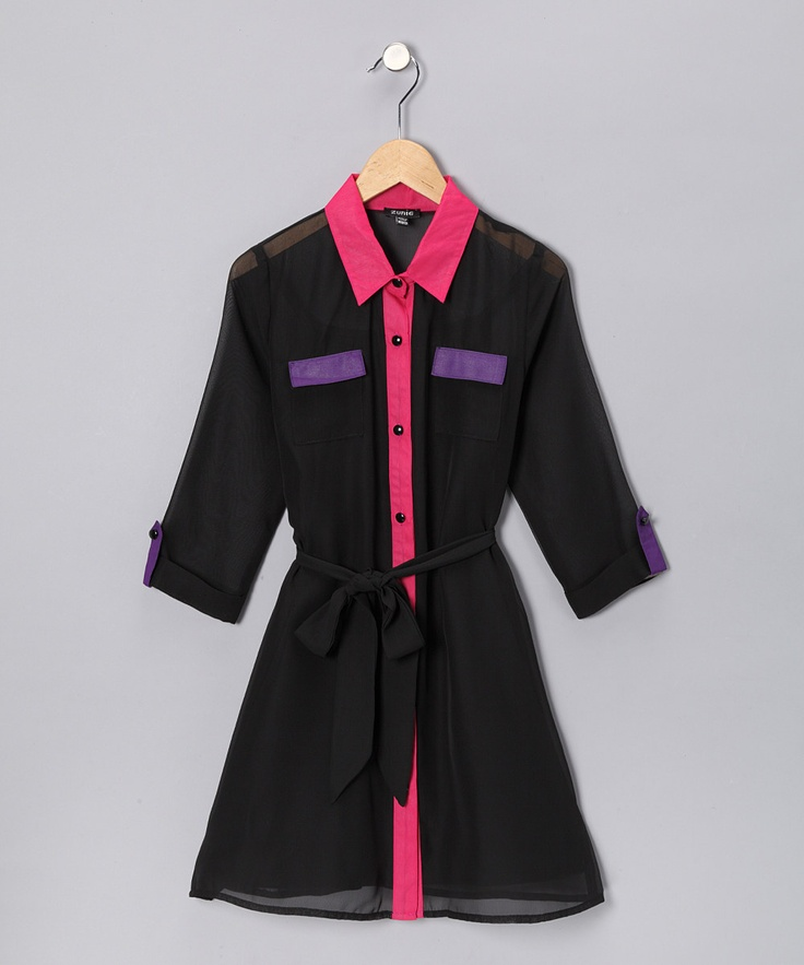 black pink purple shirt dress girls
