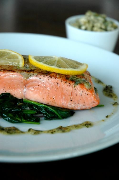 Seared salmon with mustard-caper butter and wilted spinach ...