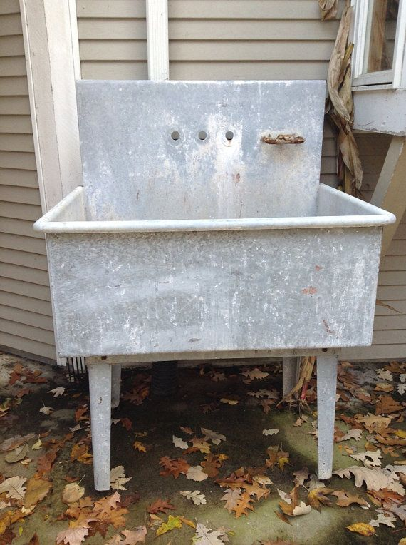 Galvanized Utility Sink : Galvanized Vintage Sink by LaceSurplus on Etsy, $300.00