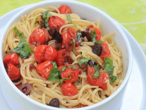 Shrimp With Chunky Cherry Tomato Puttanesca Sauce Recipe — Dishmaps