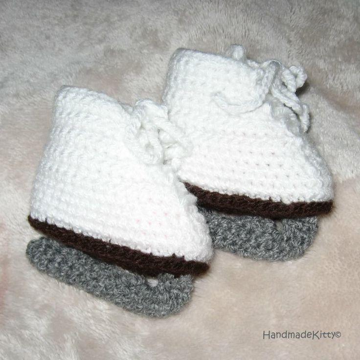 Free Crochet Pattern Baby Hockey Skates : Ice skate booties Ice Skates Pinterest