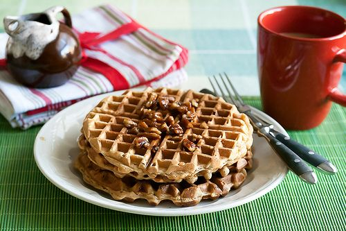 ... -scented waffles topped off with a sweet, nutty butter-pecan syrup