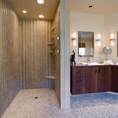 Shower with no door bath ideas pinterest - Decorative stone for bathrooms seven design inspiring ideas ...