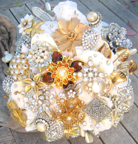 Bridal Bouquet Made Of Jewels : Jewel bouquet wedding flowers