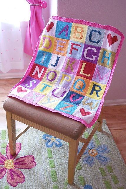 Knitting Pattern For Alphabet Baby Blanket : Alphabet baby blanket- knit. Crochet / Knit Baby Pinterest