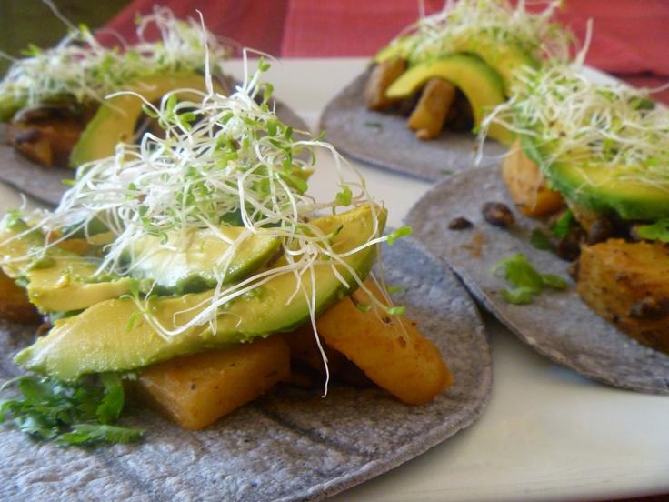 tacos chorizo scrambled eggs breakfast tacos spicy sweet potato ...