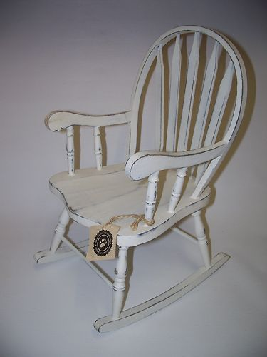 Boyds Bears Furniture White Wood Rocking Chair Primitive