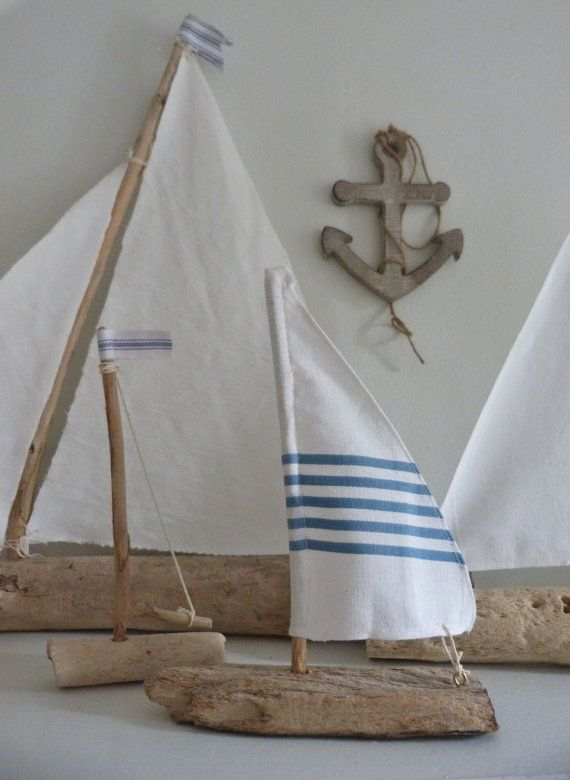 Driftwood Sailboat Rustic Nautical Home Decor
