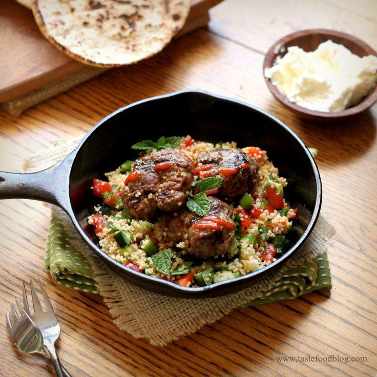 Lamb Merguez Patties with Couscous Salad | Lamb | Pinterest