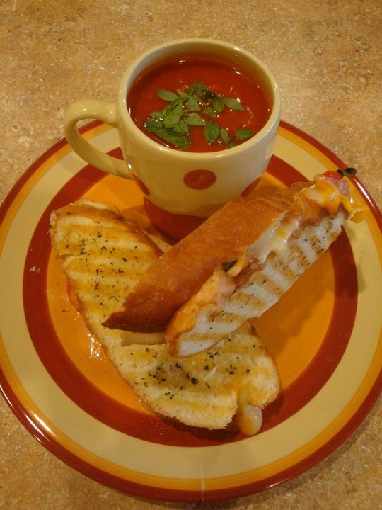 Tomato, Basil, and Cheddar Panini with Basil Tomato Soup for Dipping