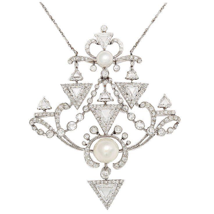French Belle Epoque Diamond Pearl Brooch/Pendant - A La Vieille Russie