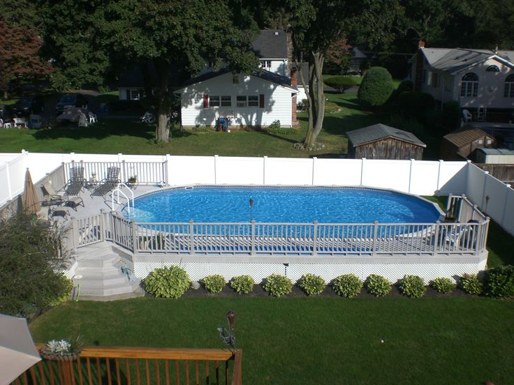 Semi inground pools and decks pinterest joy studio for Allied gardens pool