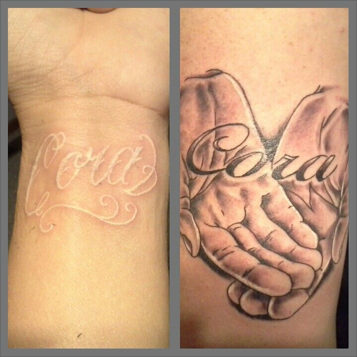 Open Hands Tattoo Designs #white tattoo #open hands