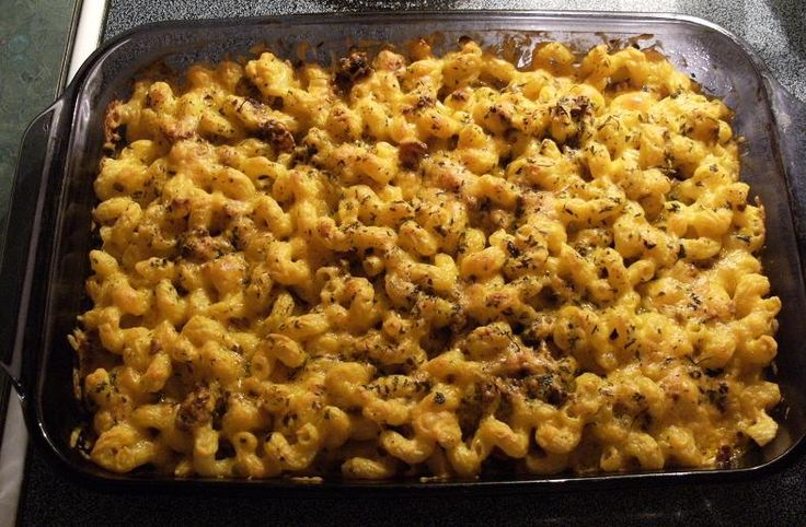 Baked Spicy Macaroni and Cheese with Ground Beef and Bacon Casserole ...