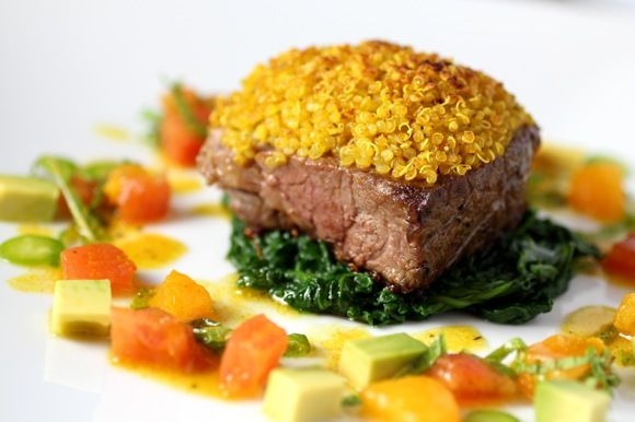 Roast Leg of Lamb Medallion, Curry Quinoa Crust Over Steamed Spinach ...