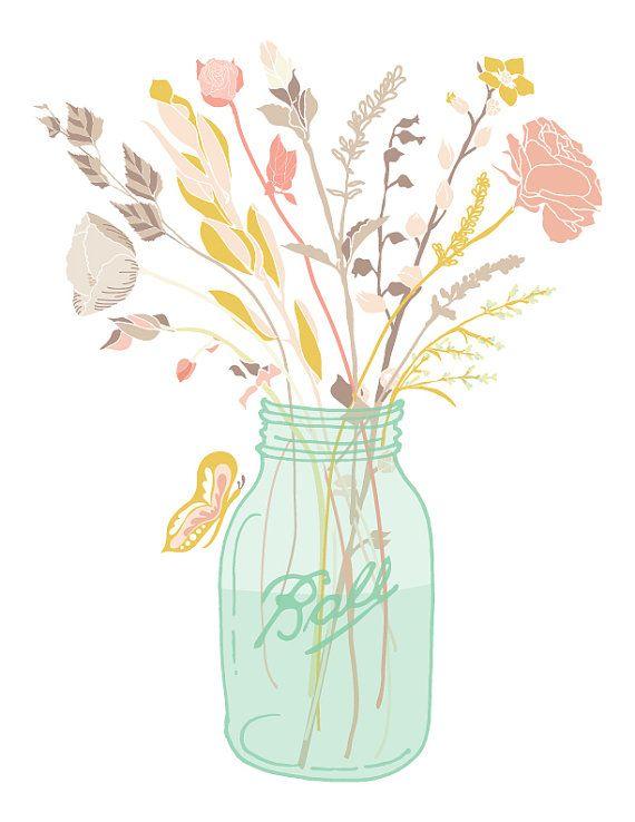8x10 mason jar bouquet - printable art