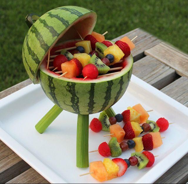 آموزش تزیین عیدی عروس Cute summer party appetizers. BBQ fruit | Pot Luck and Bar ...
