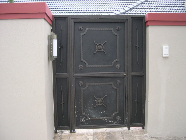 Wrought iron solid plate pedestrian gate   Wrought Iron ... Solid Iron Gates