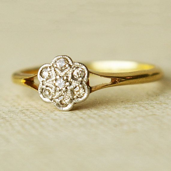 Antique Diamond Flower, Platinum & 18k Gold Ring, Vintage Wedding Ring, US 6.25