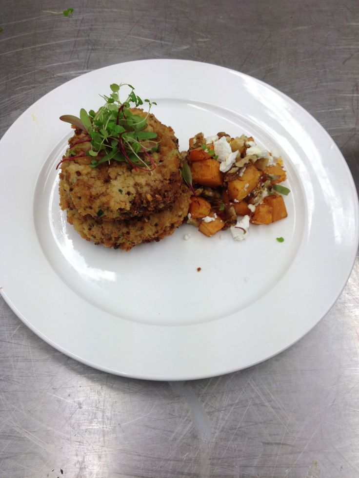 Zucchini and quinoa fritters served with a pumpkin,feta and candied ...