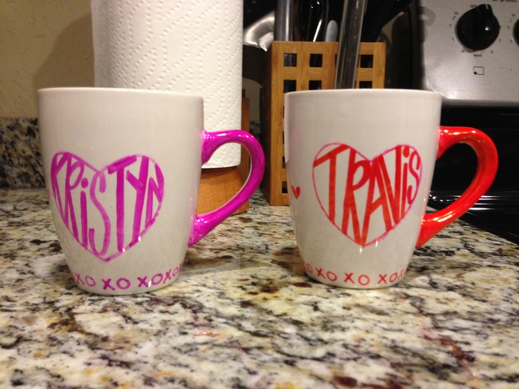 Made coffee mugs for Valentine's Day!