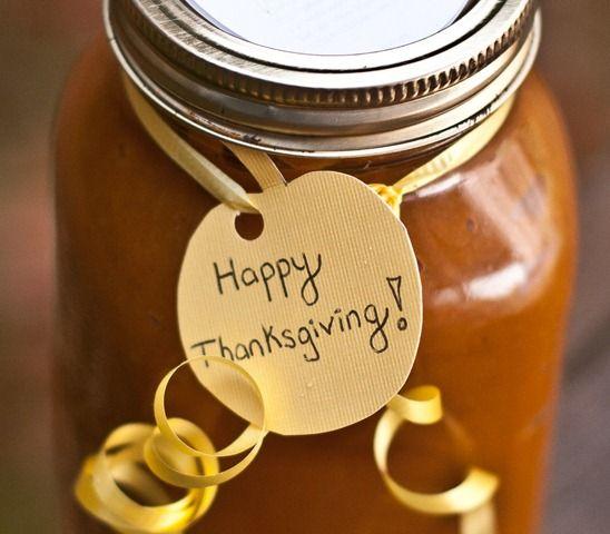 Cute little idea to do homemade pumpkin butter gifts at Thanksgiving ...