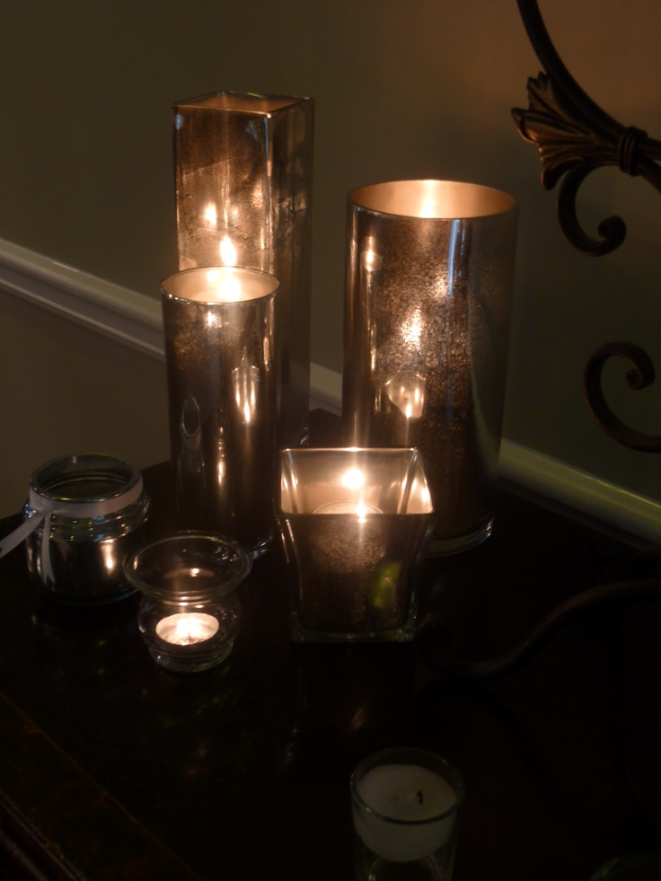 glass candle holders made with krylon 39 s looking glass spray paint. Black Bedroom Furniture Sets. Home Design Ideas
