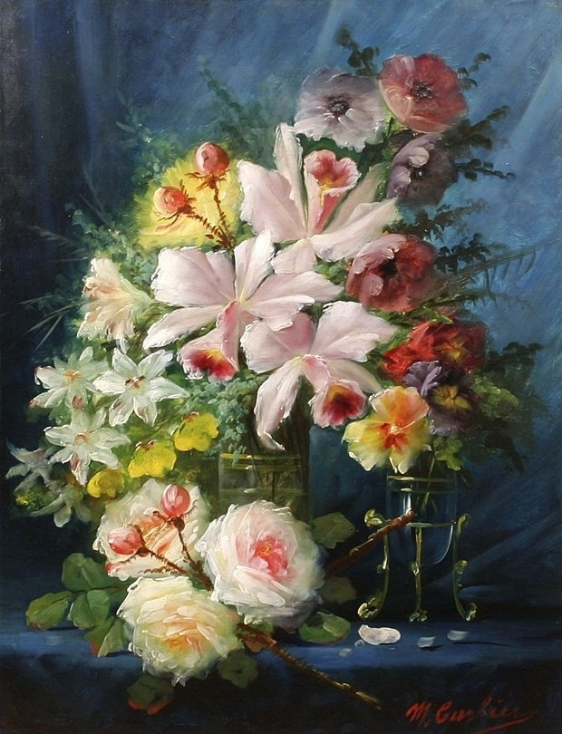 Max Carlier (1872-1938) - Still Life with Flowers  (620�810)