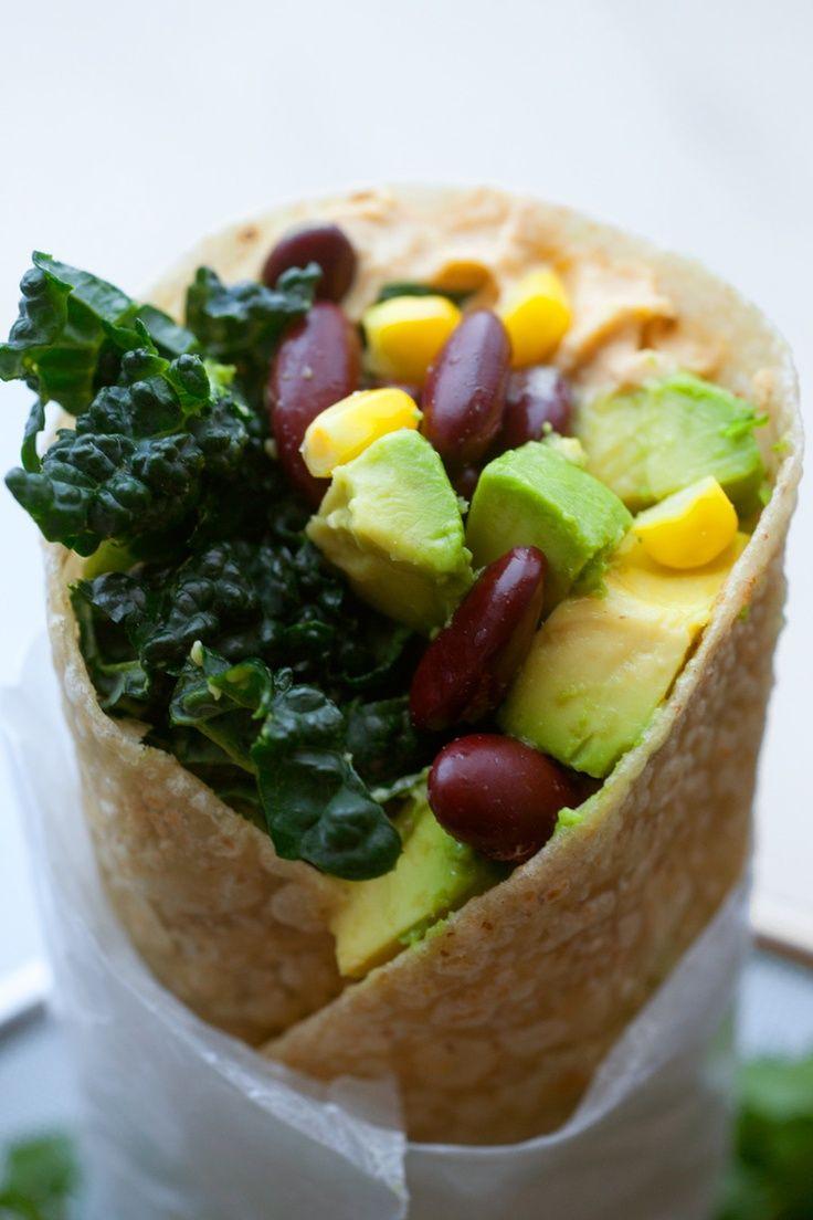 Kale and Bean Burritos with Hummus and Avocado.