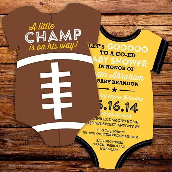 football tailgate baby onesie die cut baby shower invitation double