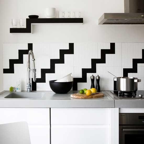 geometric black and white backsplash new kitchen pinterest