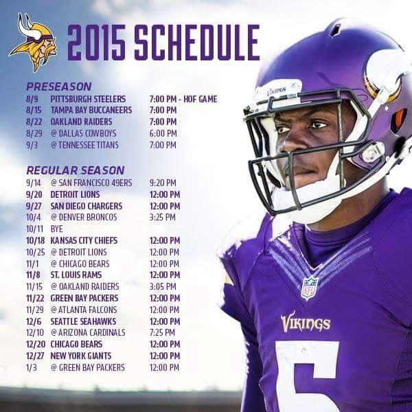 Minnesota Vikings Pregame Schedule NFL Schedule Rankings NFC West