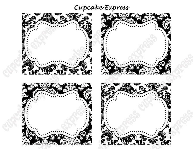 DIY Black and White Damask PRINTABLE Party Labels Tags Display cards