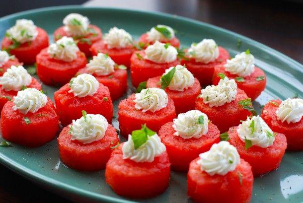Watermelon & Goat Cheese Bites, Salami Pinwheels & Mini Baked Potatoes