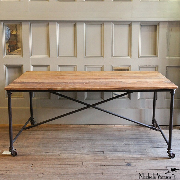 Reclaimed Wood And Metal Dining Table House Decor Pinterest