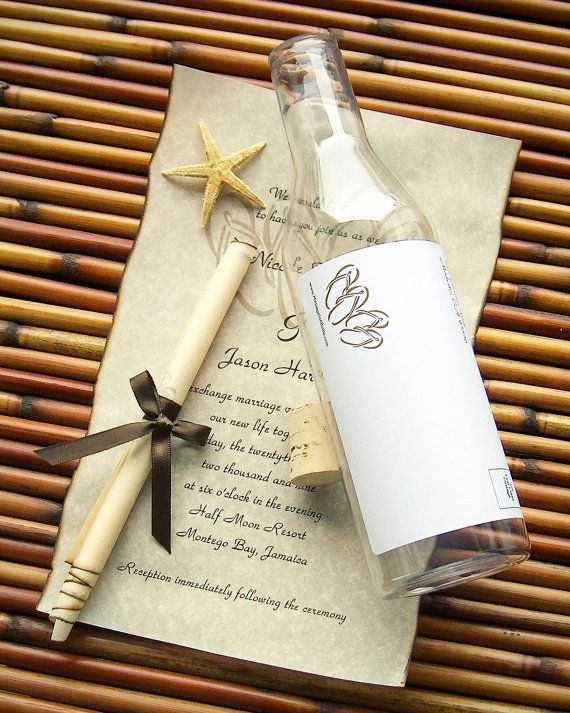 message in a bottle destination wedding invitations beachcomber