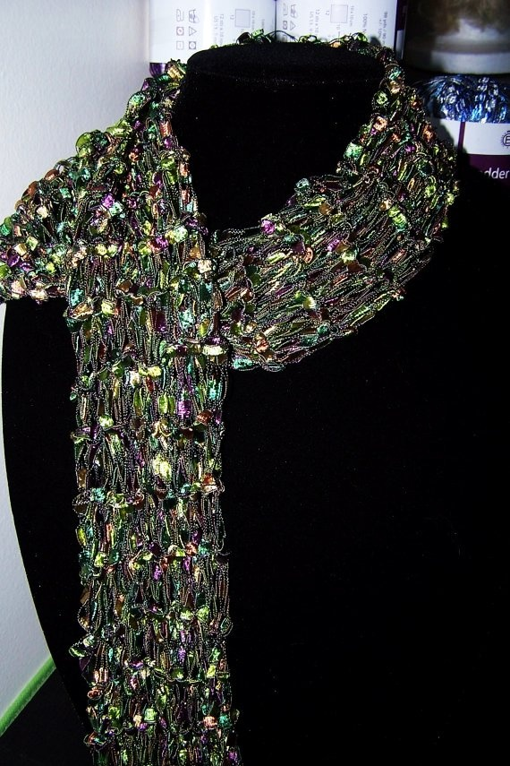 Green and Purple ladder yarn scarf Ladder yarn Pinterest