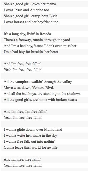 Free Fallin Lyrics - Free Fallin\' Sheet Music - Free Fallin\' Score ...