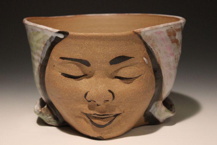 Planter Head Face Sculpture Ceramic Flower Pot Birds