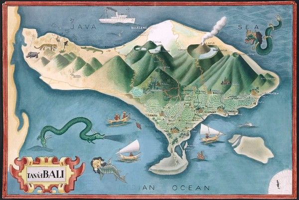 BY A WESTERN ADMIRER: Miguel Covarrubias' stylized map of Bali shows the diamond-shaped island dominated by smoking volcanoes towering over lush valleys. (Library of Congress / Asian…)
