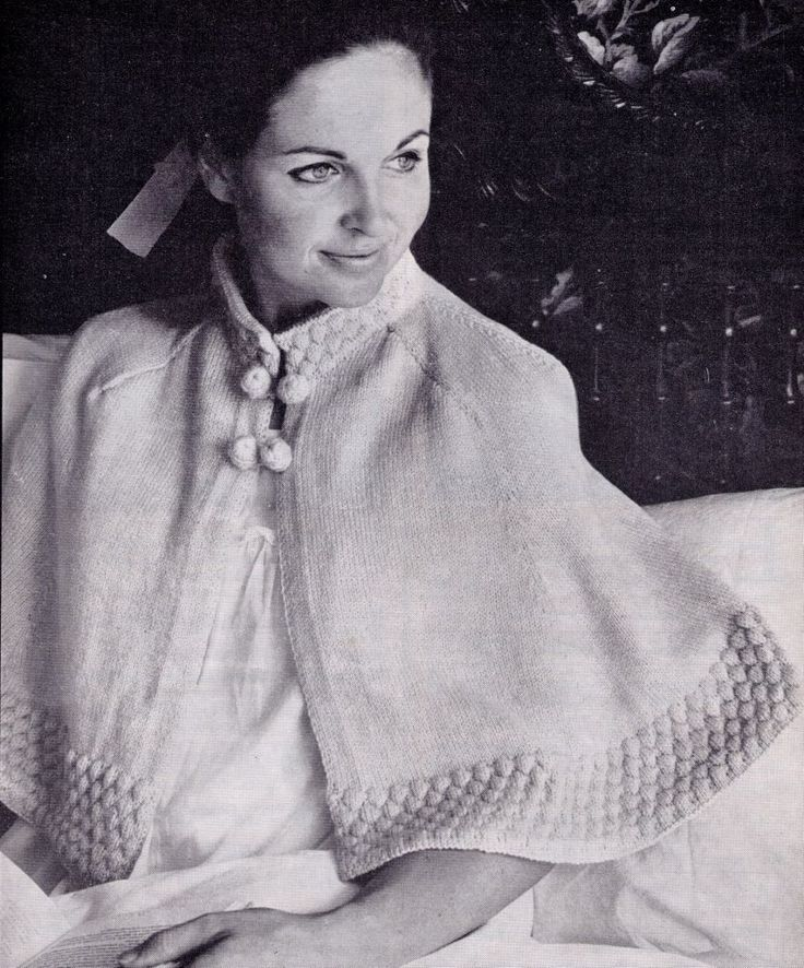 Knitting Pattern Bed Cape : VINTAGE SWINGING CAPE BED JACKET MATERNITY NANA HOSPITAL 4PLY KNITTING PATTERN