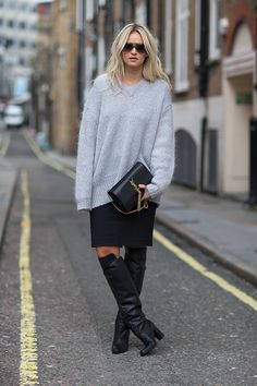 Oversized fuzzy sweater with a pencil skirt. #fashionweek #sweater #fall #divinecaroline #fashion #style #trend